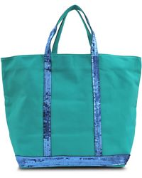 Vanessa Bruno Large Linen And Glitter Tote - Lyst