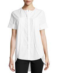 Halston Heritage Poplin Knit-overlay Shirt - Lyst