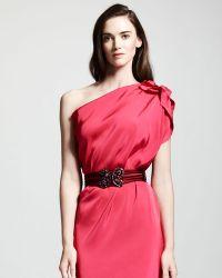 Lanvin Udaipur Crystalbuckle Elastic Belt Pink red - Lyst