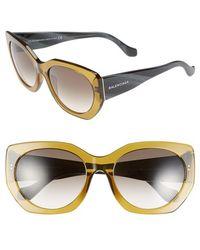 Balenciaga Women'S 57Mm 'Ba0017' Sunglasses - Dark Olive Green/ Black Horn - Lyst