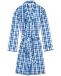 Derek Rose - Dressing Gown Ranga 30 Cotton Check Blue - Lyst