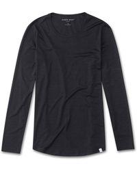Derek Rose - Long Sleeve T-shirt Carla Micro Modal Stretch Charcoal - Lyst
