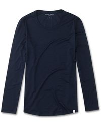 Derek Rose - Long Sleeve T-shirt Carla Micro Modal Stretch Midnight - Lyst