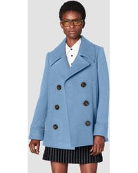 10 Crosby Derek Lam - Double Breasted Pea Coat With Knit Sleeves - Lyst