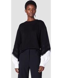 10 Crosby Derek Lam - Crewneck Sweatshirt With Poplin Sleeves - Lyst