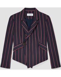 10 Crosby Derek Lam - Striped Cropped Asymmetrical Blazer - Lyst