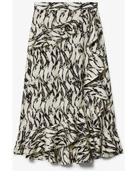 Derek Lam - Brushstroke Print Cotton Wrap Ruffle Skirt - Lyst