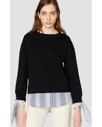 Derek Lam | Long Sleeve Sweatshirt With Shirting Tie Detail | Lyst
