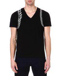 Alexander McQueen Spine Harness V-Neck T-Shirt - Lyst