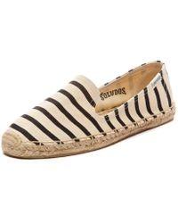 Soludos Classic Stripe Smoking Slipper beige - Lyst