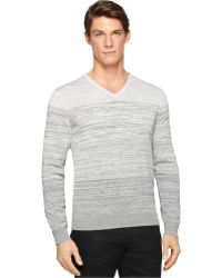 Calvin Klein Ck Premium Slim-Fit Space-Dyed V-Neck Sweater gray - Lyst
