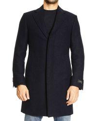 Ermenegildo Zegna Coat Torino Diagonal Wool With Hidden Buttons - Lyst
