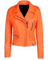 Barbara Bui Leather Outerwear orange - Lyst