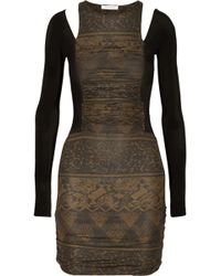 Balmain Paneled Jersey Mini Dress - Lyst