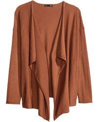 H&M Brown Fineknit Cardigan - Lyst