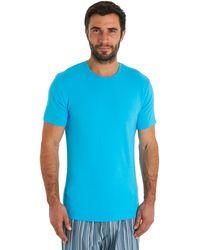 Calvin Klein Blue Crew Neck Cotton T-shirt - Lyst