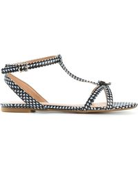 Armani Jeans Checked Flat Sandals - Lyst