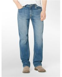Calvin Klein Relaxed Straight Leg Light Wash Jeans - Lyst