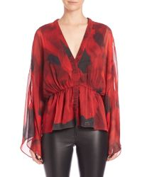 Alice + Olivia | Adanna Printed Sheer-sleeve Blouse | Lyst