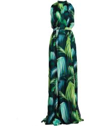 Matthew Williamson Palm Chiffon Gathered Gown - Lyst