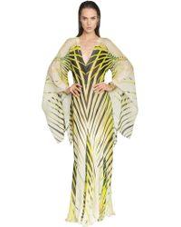 Roberto Cavalli Printed Silk Georgette Caftan Dress - Lyst