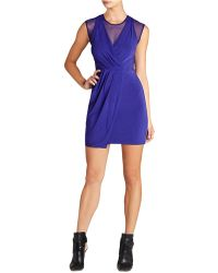 BCBGMAXAZRIA Brenna Sheer Inset Ruched Dress - Lyst