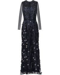 Rodarte Beaded Paillette Long Sleeve Gown - Lyst