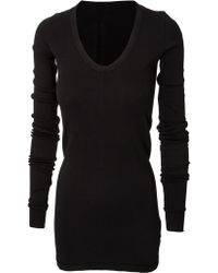 DRKSHDW by Rick Owens Geo Ribbed V-Neck T-Shirt Black - Lyst