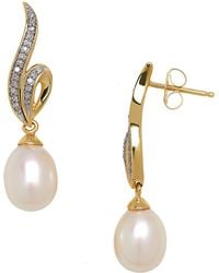 Lord & Taylor - 7mm Freshwater Pearl, Diamond And 14k Yellow Gold Drop Earrings - Lyst