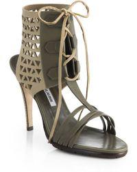 Manolo Blahnik Cutout Lace-Up Sandals - Lyst