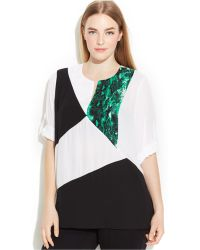 Calvin Klein Plus Size Roll-Tab-Sleeve Colorblocked Blouse - Lyst