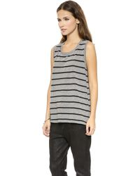 Textile Elizabeth And James Striped Dean Tank  Heather Greyblack - Lyst