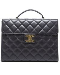 Chanel Preowned Black Caviar Large Briefcase Bag - Lyst