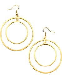 Kenneth Jay Lane Golden Concentric Circle Earrings - Lyst