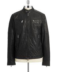 Michael Kors Leather Bomber Jacket - Lyst