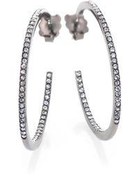Adriana Orsini PavÉ Crystal Gunmetal Inside-Outside Hoop Earrings/1.25 - Lyst