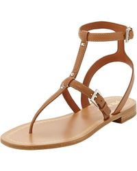 Prada Studded Leather Anklewrap Thong Sandal - Lyst