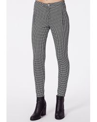 Missguided Becki Dogtooth Skinny Fit Trousers - Lyst