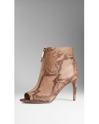 Burberry Python Peep-Toe Ankle Boots - Lyst
