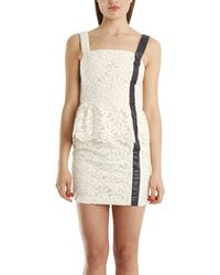 Charlotte Ronson Peplum Dress With Leather Detail white - Lyst