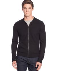 Calvin Klein Merino Wool-blend Textured-front Baseball Full-zip Sweater - Lyst