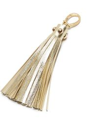 Etienne Aigner - Metallic Pebbled Long Tassel Key Fob - Lyst