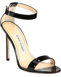 Manolo Blahnik Chaos Patent Leather Ankle-Strap Sandals - Lyst