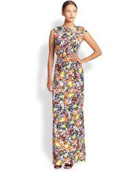 Erdem Brady Floral-print Satin Belted Dress - Lyst