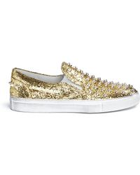 Gienchi Spike Glitter Leather Slip-Ons - Lyst
