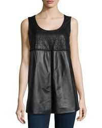 Lafayette 148 New York Sleeveless Laser-cut Leather Top Black - Lyst