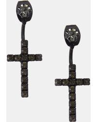 Asos Crystal Cross Swing Earrings - Lyst