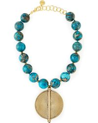 Nest - Chunky Turquoise Jasper Beaded Pendant Necklace - Lyst