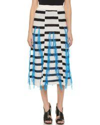 Thakoon - Raffia Fringe Skirt - Black/white - Lyst