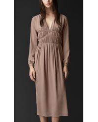 Burberry Layered Silk Smock Dress - Lyst